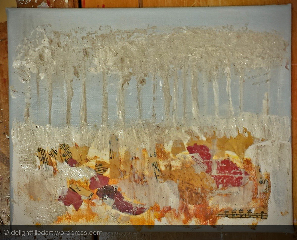 Step 2 - I added a light grey sky and roughed in the forest texture with gesso and espresso grinds.