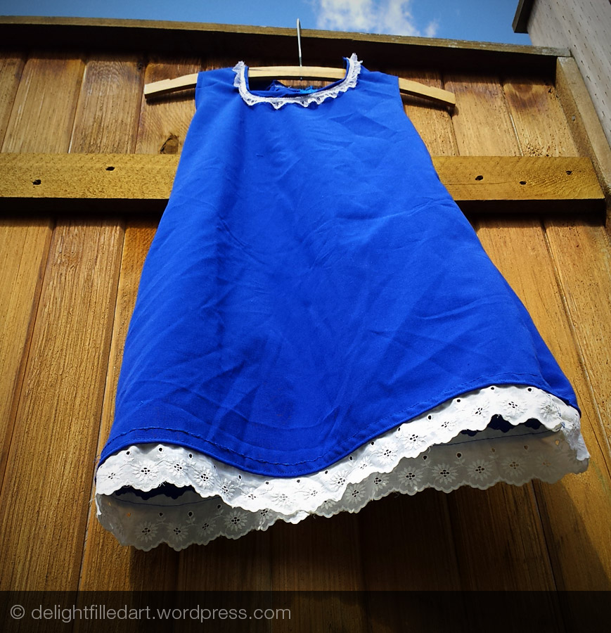 Blue dress with vintage lace trim