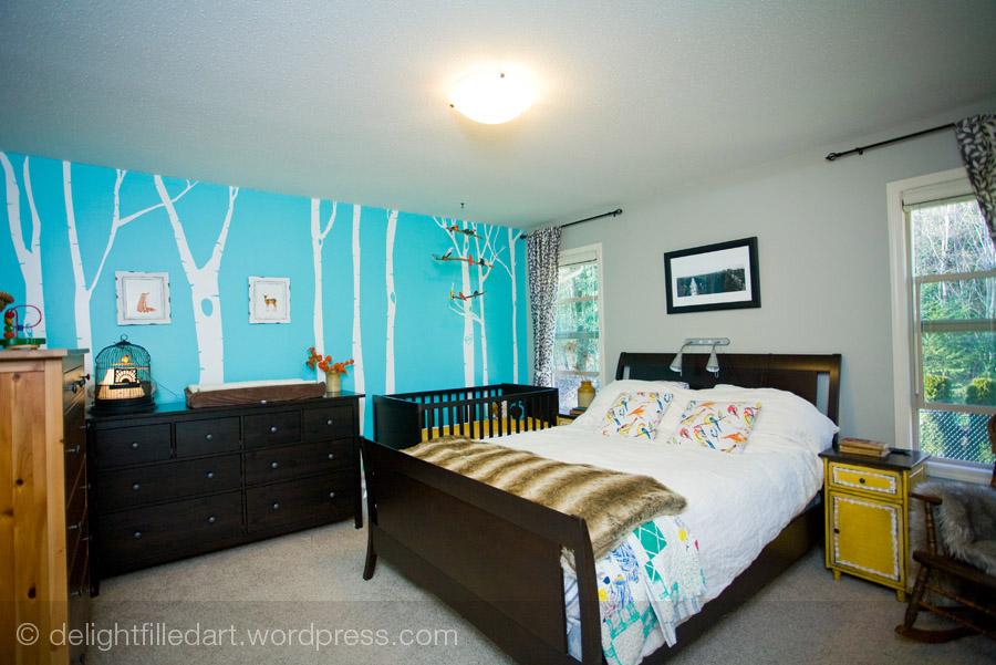 Master bedroom nursery with birch tree wall