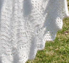 handknit handspun angora rabbit circular baby blanket