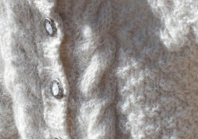 Angora Aran Baby Sweater Cables
