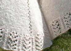 Handspun Handknit Lace Cotton Silk Shawl details