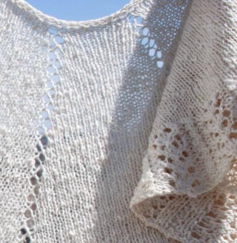 Handspun Hand knit Lace Cotton Silk Shawl folds