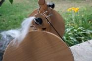 hand spinning angora and lambswool yarn