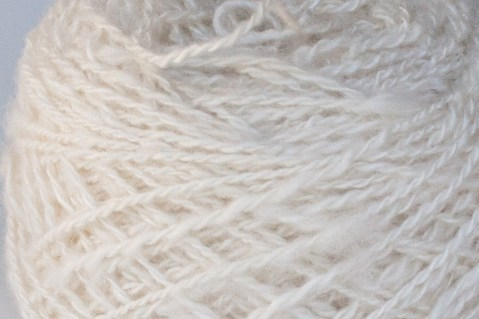 close up of ball of handspun cashmere yarn