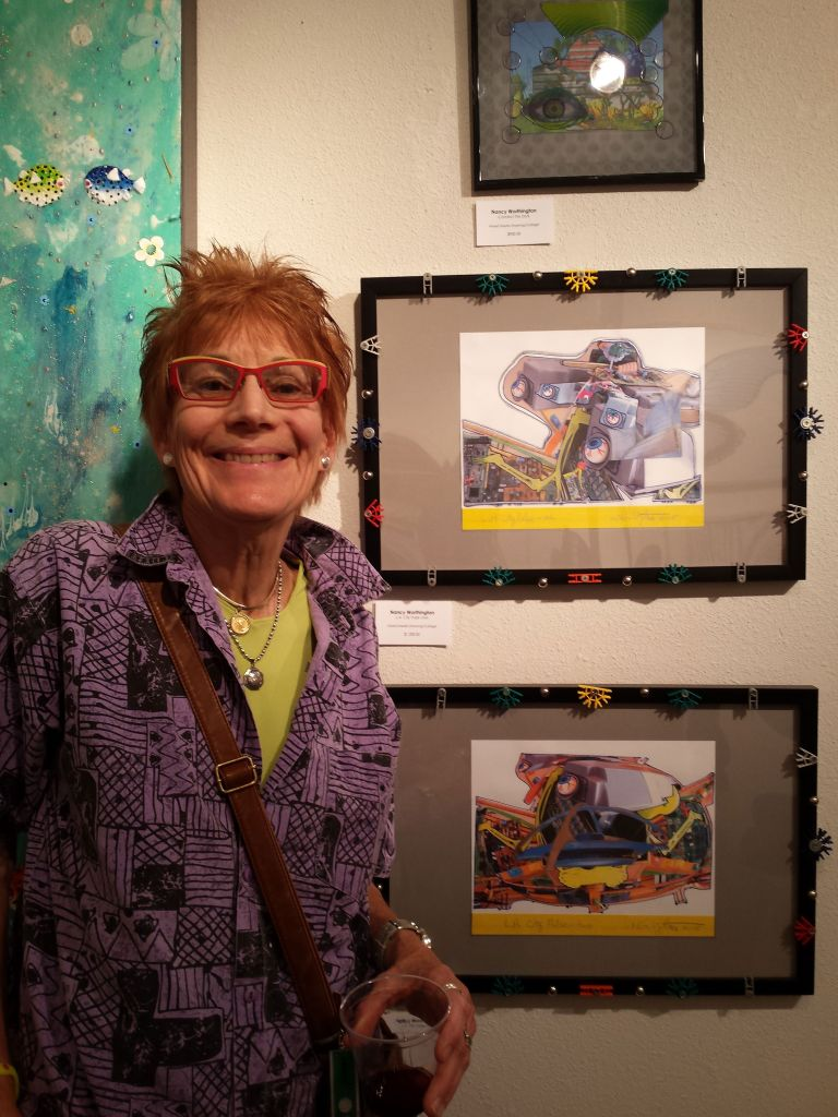 Nancy Worthington with her artworks at Archangel Gallery 2015