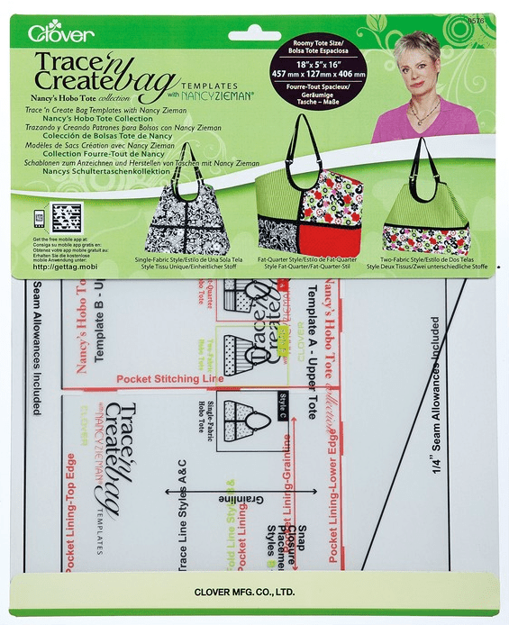 Nancy Zieman's Hobo Tote Bag Template Collection by Clover