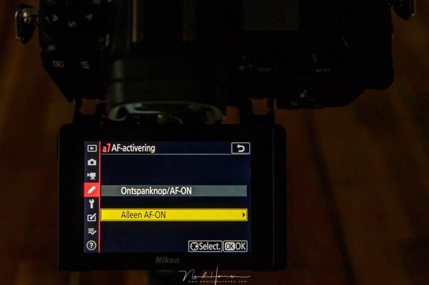 Het scherpstellen van een foto via de AF-ON knop