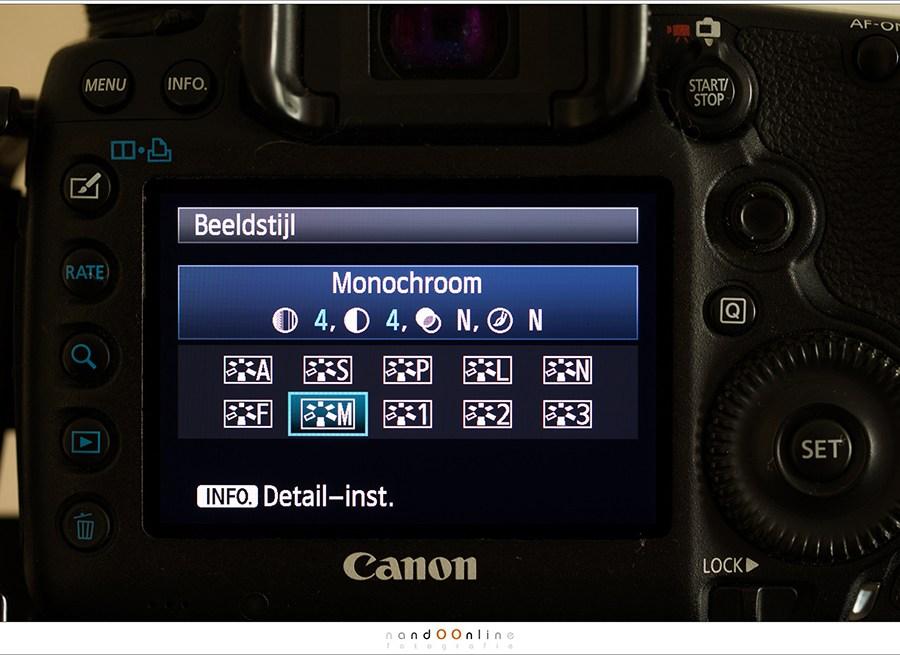 Het is mogelijk om de camera op monochrome te zetten - in het RAW bestand blijft kleur informatie behouden