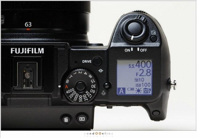 het sluitertijden wiel op de GFX van Fujifilm