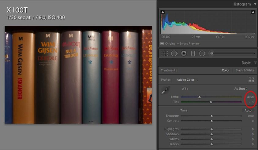 5000K instelling op de Fujifilm X100t geeft een witbalans van 4950K