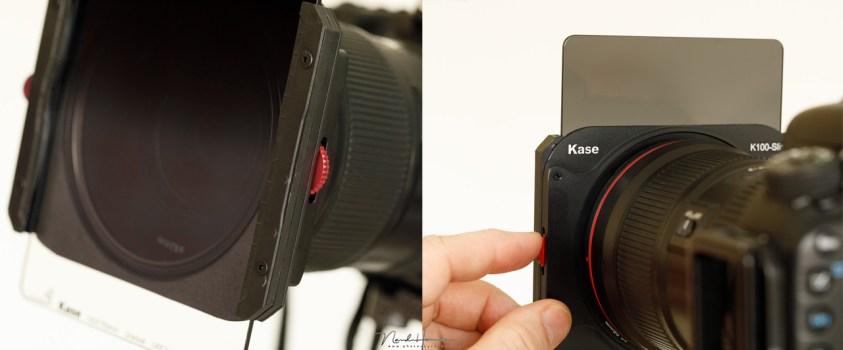 Het bedienen van het polarisatiefilter met filters geplaatst, blijft mogelijk via het rotatie wiel