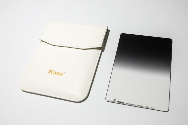 Het filter etui van Kase, een stevig etui dat goede bescherming biedt, maar waar het type filter niet op vermeld staat.