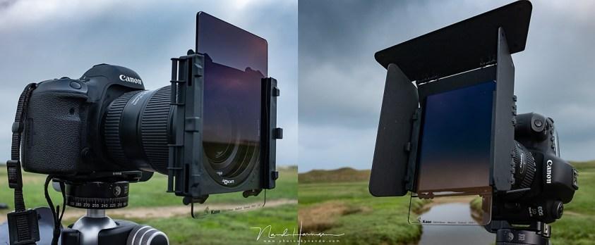 LucrOit filterhouder met en zonder zonnekleppen, voorzien van een Kase grijs gradient filter