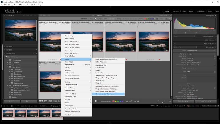 Nadat je alle foto's die je wilt stacken hebt geselecteerd, kun je die als layers in Photoshop openen. Op deze manier hoef je dit zelf niet te doen: Lightroom en Photoshop doen al het werk voor je.