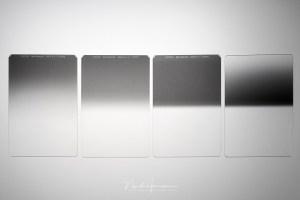 Vier verschillende grijsfilters van de Haida Red Diamond serie. Van links naar rechts: soft, medium, hard, en omgekeerd grijsverloop.