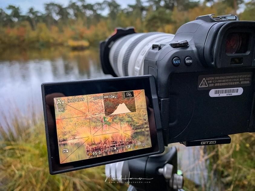 Manual focus en focus assist bij de Canon EOS R6 - een van de 9 redenen om liveview te gebruiken bij landschapsfotografie