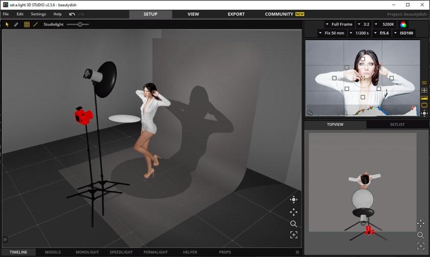 een high-key geplande lichtopstelling voor de fotosessie met Iris