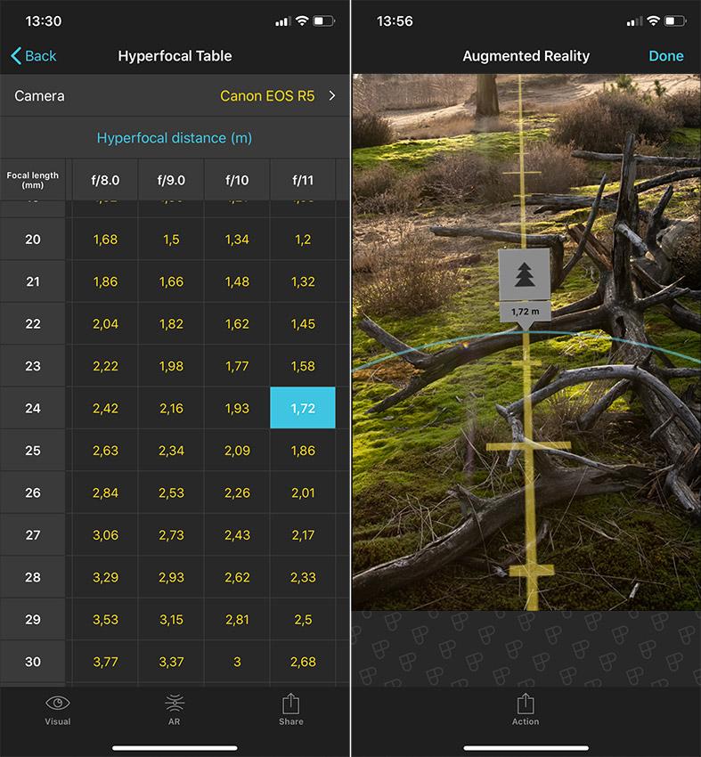 hyperfocale afstand bepalen in Photopills