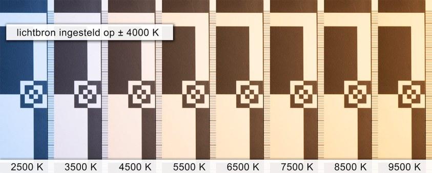 De verschillende kleurtemperatuur instellingen onder licht van 4000K
