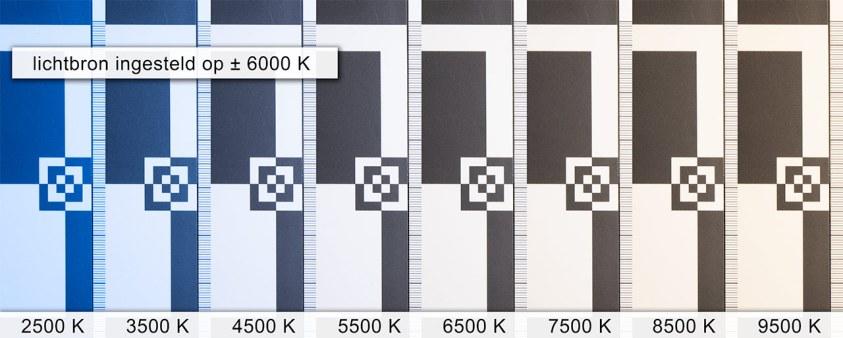 De verschillende kleurtemperatuur instellingen onder licht van 6000K