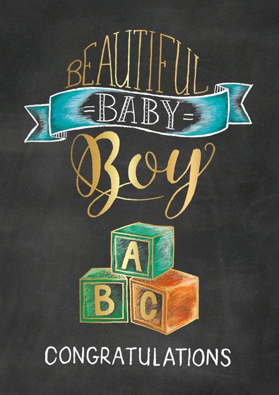 Artige  Baby Boy Congratulations  Baby Cards SCH002