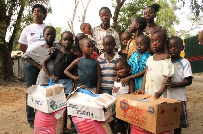 Children who survived Ebola receives food and other items from the foundation