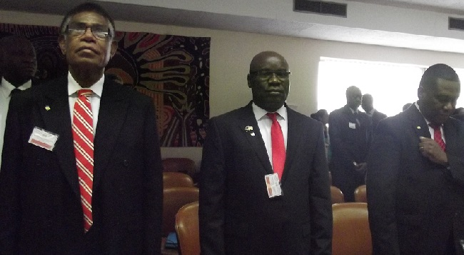 Liberian Ambassador Nyenabo (center) at the conference