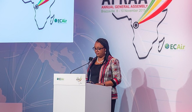 Fatima Beyina-Moussa, CEO of ECAir, Equatorial Congo Airlines and President of the African Airlines Association (AFRAA) addresses the assembly