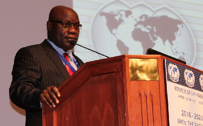 Dr. Isaac W. Nyenabo, Liberia's Ambassador to the Benelux, ACP and the European Union speaks on behalf of President Ellen Johnson Sirleaf at the 4th Assembly of the World Union of Small and Medium Enterprise (WUSME) held in San Marino from April 15 -17