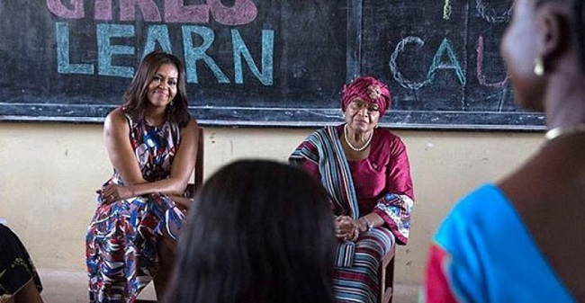 US First Lady Michelle Obama and Liberian President Ellen Johnson Sirleaf listen as a Liberian female student makes a remark Photo: micatliberia.com