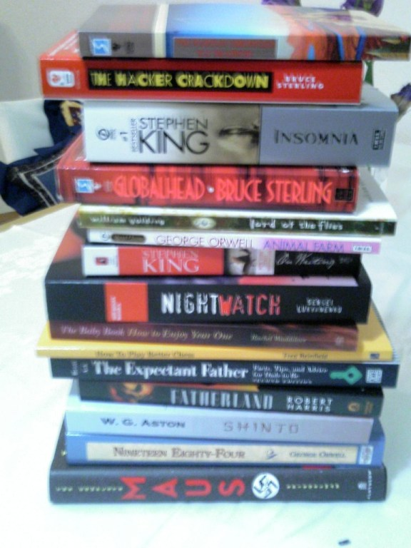 A pile of books to read.