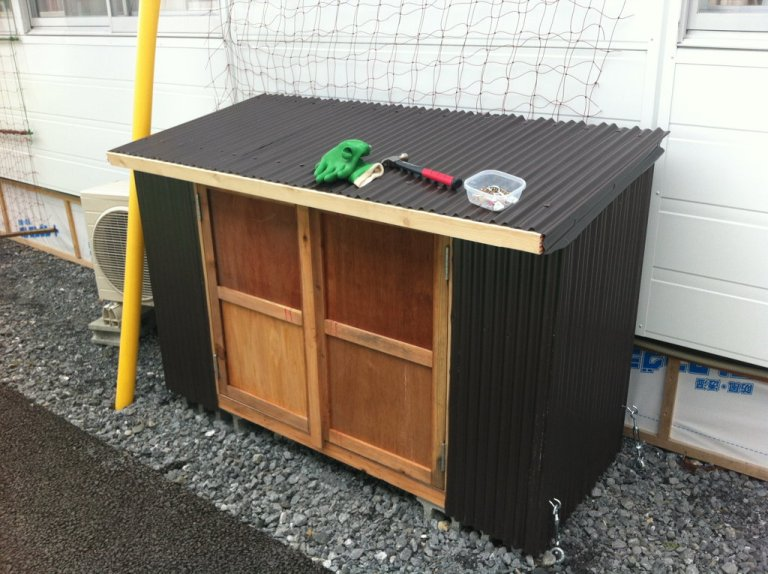 These are the metal and wood storage units we built for those in temporary housing.