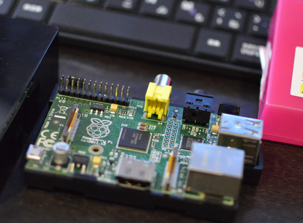 The raspberry pi 1B without case