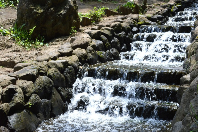 A man made waterfall in a family park in Kanagawa