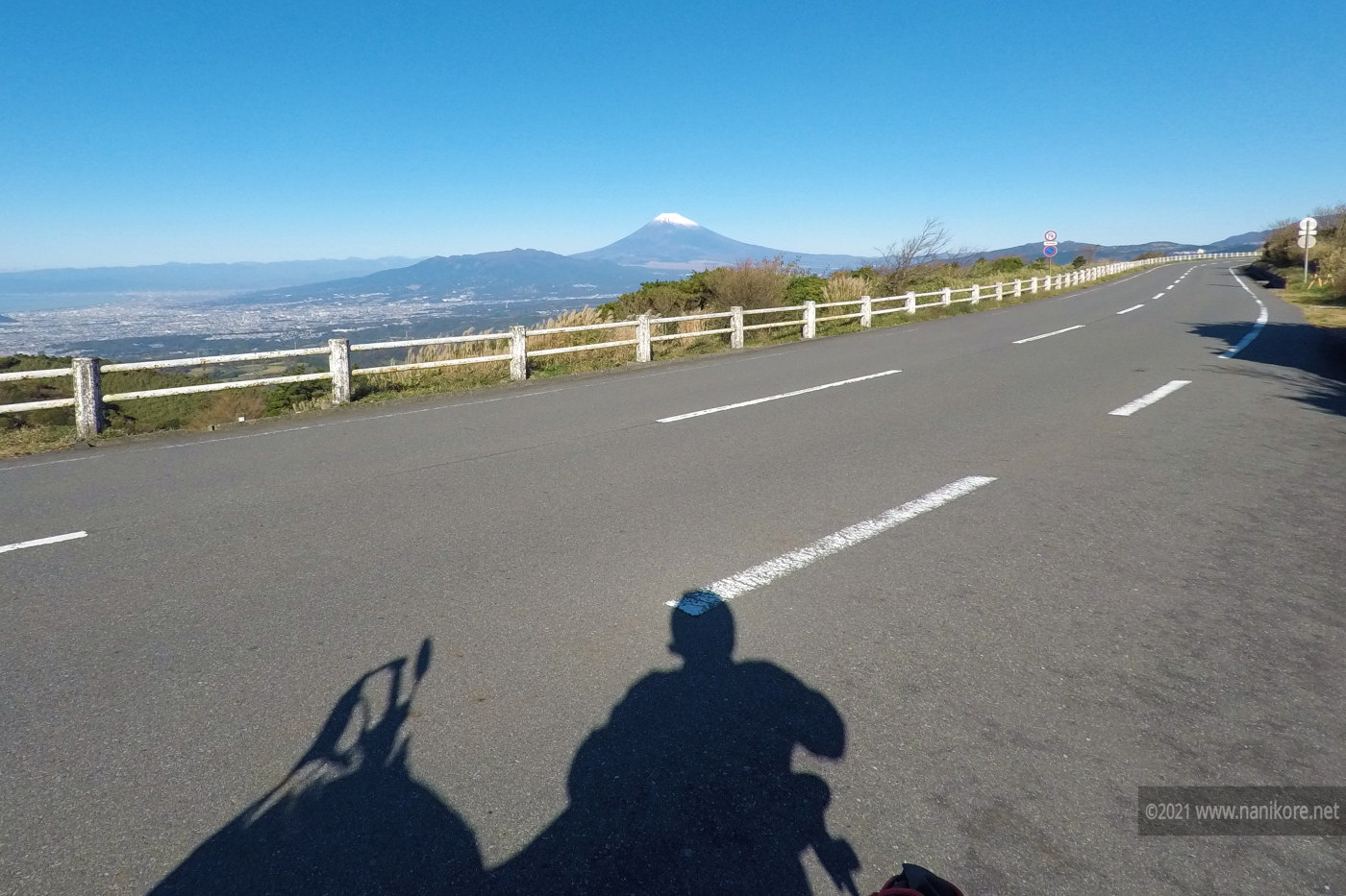 View of Fuji from the bike at Kurodake