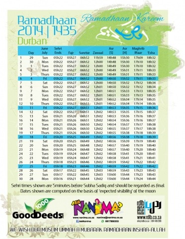 Image Result For Ramadan South Africa Timetable