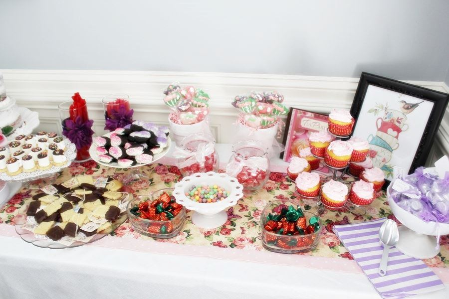 pink vintage tea party candy buffet