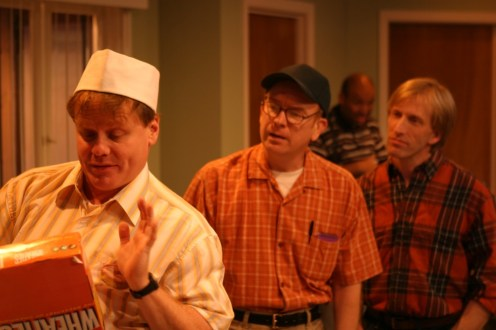 "Brian Habicht as Norman, Scott Ward as Arnold, Jeff Charlton as Jack in Actors Co-op production of ""The Boys Next Door"" by Tom Griffin, directed by Nan McNamara"