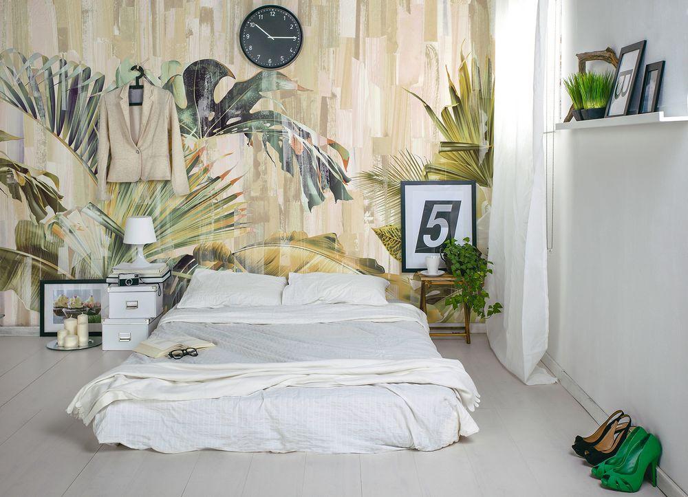 Tuttavia, se si desidera il massimo ingrandimento ottico dello spazio, gli sfondi con strisce di colore diverso staranno perfettamente per le piccole stanze. Esotica Carta Da Parati Tropicale Jungle