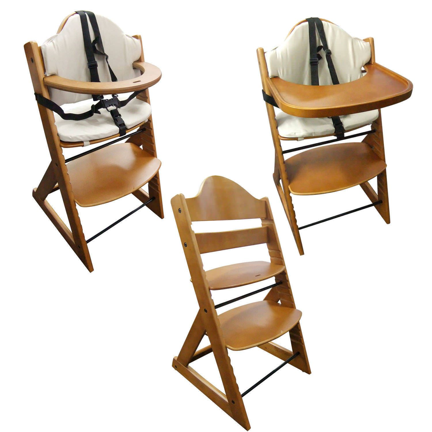 wooden high chair cushion rug under office baby 3in1 with tray and bar teak