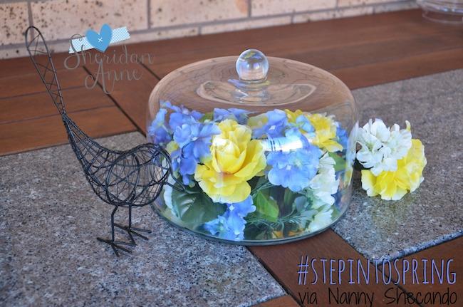step into spring, springtime centrepiece, sheridan anne