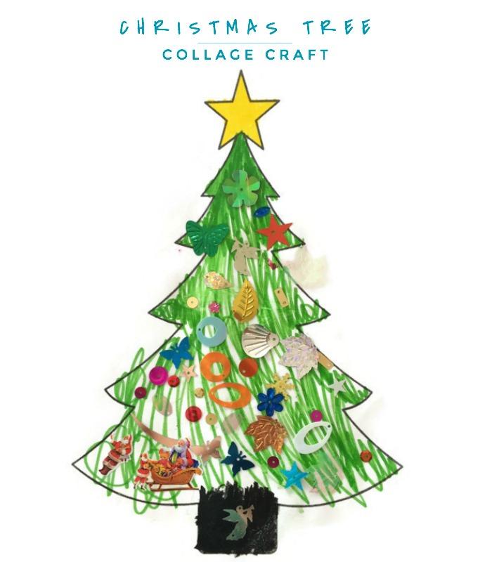 make christmas tree collage craft. Black Bedroom Furniture Sets. Home Design Ideas