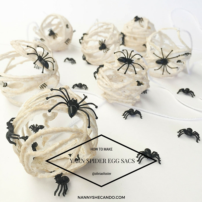 Halloween Yarn Spider Egg Sacs, Olivia Foster, NANNY SHECANDO, Easy Kids Craft, Halloween Decorations, Trick or Treat
