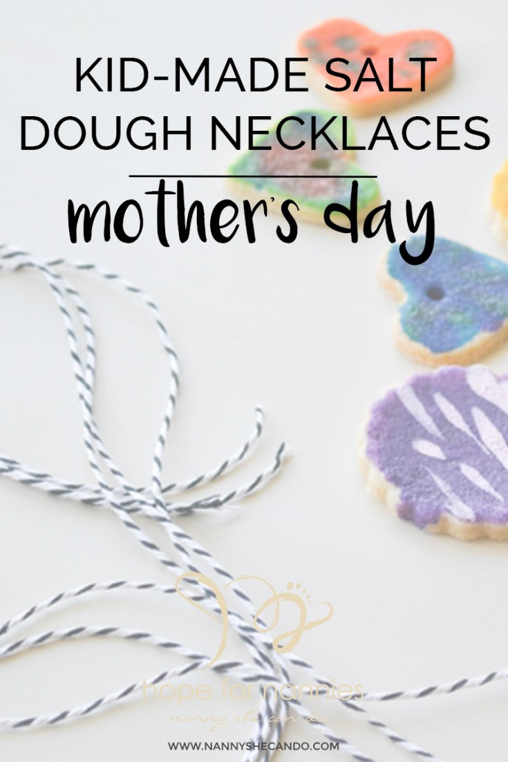 Make these kid friendly salt dough necklaces for the perfect mother's day gift by A Crafty Living for nannyshecando.com
