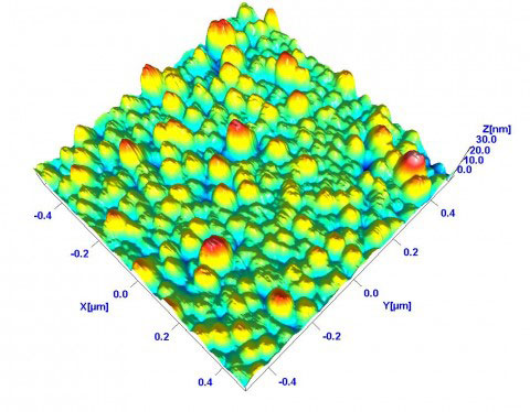 3D atomic force microscope topography image of metallic nanoparticles deposited on graphite