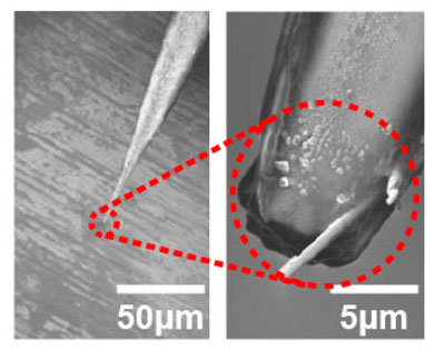 nano-storage wires deposited on tip of a micropipette