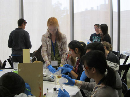 students running nanoscience experiments