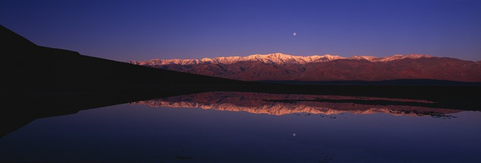 Full moon reflecting in Badwater above Telescope Peak in Death Valley, (c) Jerry Ginsberg