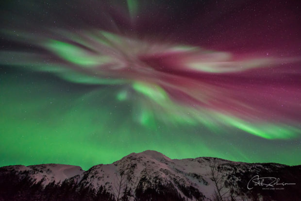 Aurora borealis over Portage Valley, Chugach National Forest, Alaska.